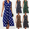 Fashion Sleeveless Polka Dots Button Belt Women's Skirt Summer Casual Midi Dress