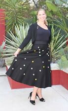 "1950's True vintage-Rare ""poodle"" circle skirt! Rockabilly! Black felt fabric"