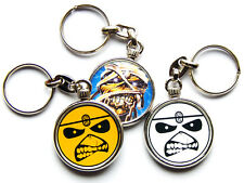 More details for iron maiden heavy metal band chrome keyring picture both sides