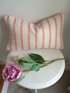 """VANESSA ARBUTHNOTT """" SIMPLE TICKING DETAIL"""" PIPED CUSHION COVER  SWEET PEA 18x11"""