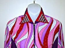 Woman's Large Purple & Red Western Rail, Pleasure, Rodeo,Trail, & Glamour Shirt