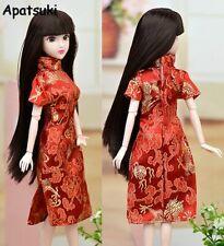 Red Flower Handmade Dress For Barbie Doll Clothes Cheongsam Chinese Dress Qipao