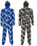 New Men's Pyjamas Camouflage Army Camo Soft Fleece 1Onesie All In One Jumpsuit