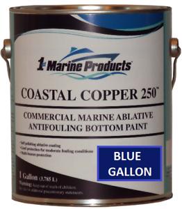 Marine Ablative Antifouling Bottom Boat Paint Coastal Copper 250 Blue Gallon