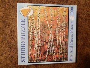 1000 Piece Deer Aspen Trees Jigsaw puzzle Autumn Stags Graeme Stevenson COMPLETE