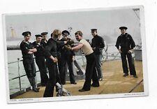 Antique Postcard Sailors Boxing on Deck of Ship 1909