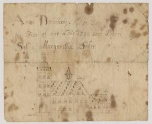 Child Drawing Birth Announcement Soffia Margaretha Dober Dated 1744 Americana