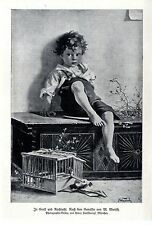 In Groll und Rachsucht M. Wunsch Kindermotiv Kunstdruck Nach einem Gemälde 1915
