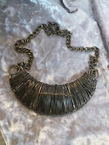 Chunky Bronze Metal Necklace Wired