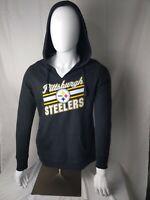 NFL Pittsburgh Steelers Majestic Fleece Hoodie Black V-neck Women Large NWT New