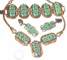 Vintage Selro Green Carved Floral Thermoset Copper Necklace Bracelet Earrings