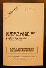 Beeman Feinwerkbau 124 127 Sport Air Rifle, Gun, Instruction Manual, Schematics