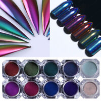 Chameleon Holographic Mirror Nail Art Glitter Powder Chrome Pigment Dust Decor