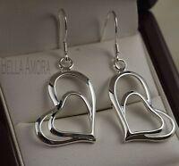 Gorgeous Sterling Silver 925 Double Heart Dangle Drop Earrings - New - 60