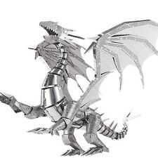 Piececool 3D Puzzle Silver Dragon Laser Model Toy Flame Metal Puzzle Scale Model
