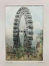 ACEO Vintage Vienna Ferris Wheel Ink Drawing on Silk Weiner Riesenrad