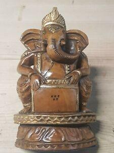 Carved Wooden Statue Of Ganesha - Hindu Elephant God - 6 Inches