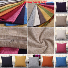Home Decor Vintage Cotton Linen Pillow Case Sofa Waist Throw Cushion Solid Cover