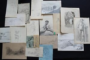 Collection of 18 SKETCHES 19th century French School