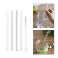 4x Reusable Clear Glass Water Drinking Straws with Brush Wedding Birthday Party