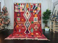 "Boujaad Moroccan Tribal Handmade Rug 5'7""x8'6"" Berber Geometric Red Wool Carpet"