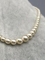 Vintage Faux Pearl Necklace Bead Simulated Imitation Single Strand Silver Tone