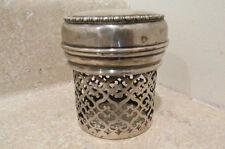 S38 antique sterling silver powder shaker dresser tray powder holder covered