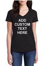 Ladies V-neck Custom Personalized T Shirts Your Own Text Business Name T-shirt