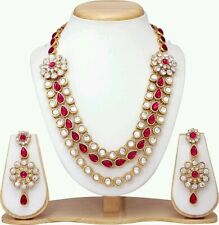 DESIGNER ANTIQUE GOLD PLATED  DIAMOND & KUNDAN NECKLACE EARINGS JEWELLERY SET