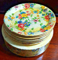 ORIGINAL COLLECTIBLE VINTAGE FLORAL PAPER MACHE COASTERS - Made in Japan