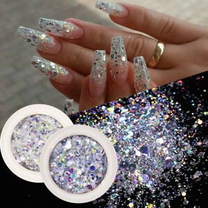 8 Boxes/Set Nail Glitter Sequins Flakes Sparkly 3D Hexagon Nail Art Decoration