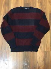 Polo Ralph Lauren Crewneck Sweater Vintage 100% Wool Men's XL Navy Blue Red