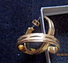 VINTAGE AVON*BEAUTIFUL GOLD EDGED HOOP EARRINGS*WITH SURGICAL STEEL POST*NIB*
