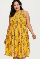 Torrid Yellow shirred Midi Dress size 3 (UK 22/24) NEW with tag
