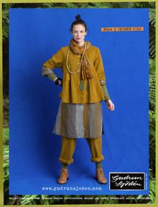 "*Gudrun Sjoden* Colors 100% linen pleated artist's smock XL 48"""