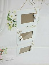 3 Tier White Shabby Chic Hanging Photo Frame Hearts Rustic Wooden Home Decor