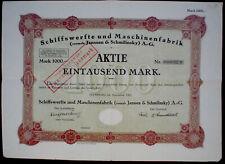 Schiffswerfte + Maschinenfabrik (vormals Janssen & Schmilinsky) AG Hamburg 1922