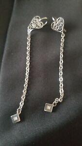 Rebecca Heart /chain Earrings  White Gold Plating /Rhinestones  $349 signed