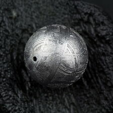 7mm Genuine Natural Gibeon Iron Meteorite Round Bead Only One 1.5Grams
