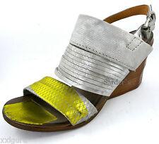 AIRSTEP A.S.98 Sandalette 36 LEDER Schuh Grau Gold Antik Italy Keil Sandale NEU