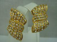 Nadri Gold Tone Clear Crystal Rhinestone Ribbed Bow Clip Earrings