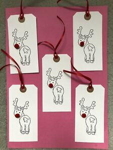 10 X Large Handmade Rudolph Xmas Christmas Bobble Nose Gift Tags