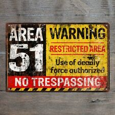 Warning Aear 51 Vintage Tin Signs Metal Plate Garage Decor Art Wall Poster