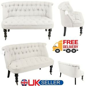 Contemporary 2 Seater Sofa White Wooden legs Home Office Lounge Lined Fabric New