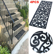 4pcs Outdoor Rubber Stair Mats Anti-slip Black Staircase Rubber Carpet Home