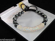 GENUINE ARABESQUES Best quality Shamballa crystal tube bracelet. AB/Rainbow AJSB