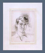 SAUL LISHINSKY (1922-2012) - SELF PORTRAIT ca 1940's PENCIL/GOUACHE DRAWING