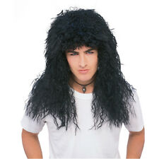 Black New Wave Unisex Long Curly Rocker Wig