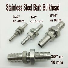 """Fitting Bulkhead Barb Mender 1/4"""" or 6 mm Hose ID Adapter Stainless Steel ZM1"""