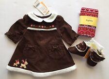 NWT Gymboree Colorful Village 0-3 Months Brown Reindeer Dress Tights & Booties